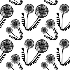Seamless vector floral pattern with flowers. Cute hand drawn black and white background with dandelions. Inc painting. Series of Hand Drawn Seamless Patterns.