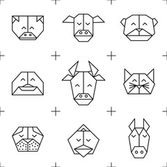 Pattern origami farm animals 1