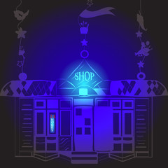 neon shop sign at night