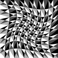 Abstract background, pattern with warp effect. Black and white,