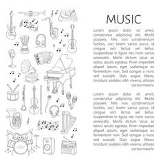 Music icon set vector illustrations hand drawn doodle. Musical instruments and symbols piano, guitar, drum set, gramophone, microphone, violin, accordion, radio, saxophone, headphones.