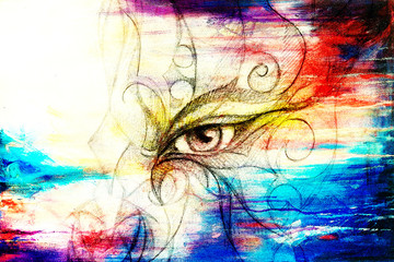 mystic eye with floral ornament. Drawing on paper, Color effect. Eye contact. Computer collage.