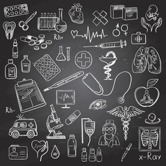 Health care and medicine doodle