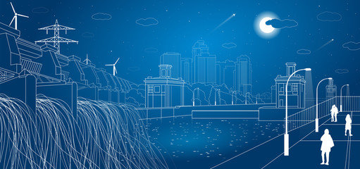 Gateways, night city embankment, hydro power plant, people walk, city infrastructure, vector design art