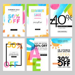 Set of social media sale banners template. Hand drawn vector illustrations for website and mobile website banners, posters, email and newsletter designs, ads, promotional material.