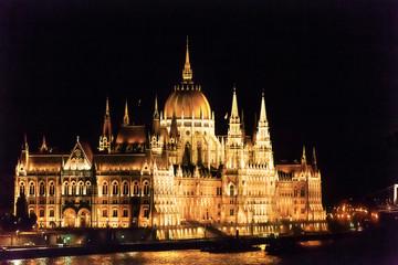 Parliament Building Danube River Night Budapest Hungary