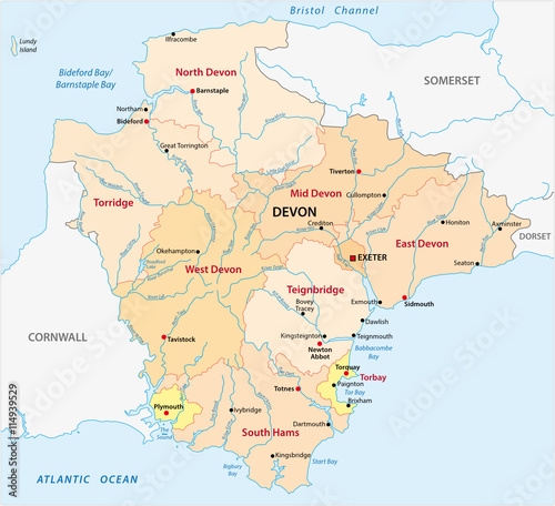 South Devon England Map.Vector Administrative Map Of The County Devon England Stock Image