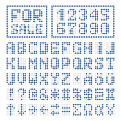 Dotted font alphabet digital letters and numbers
