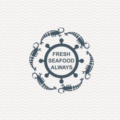 monochrome seafood icon with shrimp