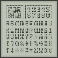 Digital dotted font display letters and numbers