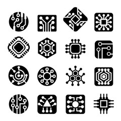 Computer Chips icons Vector illustration