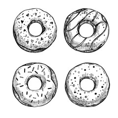 Hand drawn vector illustration - Set of tasty donuts. Sketch. Sw