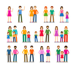 People icons set. Family, love, children symbols. Vector illustration