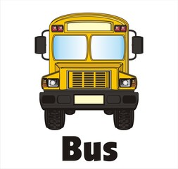 bus, school, school bus, cartoon, isolated, background, white, yellow, road, children, stall, stop, sign, symbols, signs,