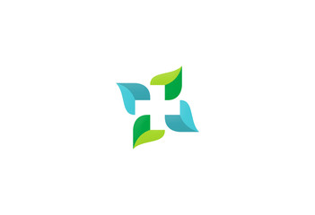 cross green leaf circle logo