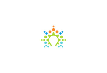 dot light bulb creative colored logo