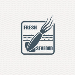 monochrome seafood icon with squid