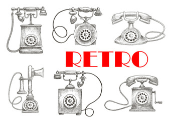 Vintage sketched rotary dial telephones symbols