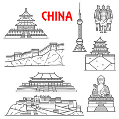 Tourist attractions of China icon, thin line style