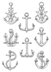 Engraving sketched anchors with helms and ropes