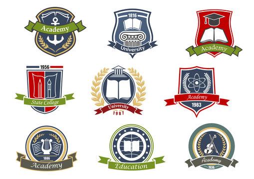 Academy, university and college heraldic emblems
