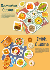Rich food of romanian and irish cuisine flat icon