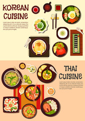Exotic oriental dishes of korean and thai cuisine