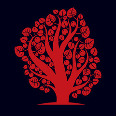 Art creative illustration of tree, stylized eco symbol. Insight
