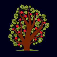 Tree with ripe apples, harvest season theme illustration. Fruitf