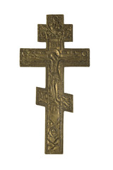 Old Vintage Orthodox iron Cross on white
