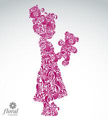 Art illustration of a tiny girl holding a teddy bear. Cute teena