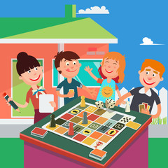 Family Playing Board Game. Happy Family Weekend. Vector illustration