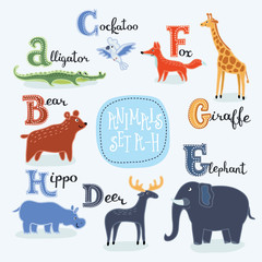 Alphabet animals from A to H