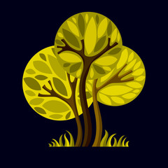Art fairy illustration of tree, stylized eco symbol. Insight vec