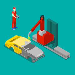 Robot Painting Car Body in Automobile Factory. Isometric Transportation. Vector illustration