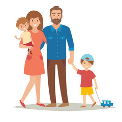 Family with kids. Happy family. Cartoon caracters family. Family: mother,father, brothers.Family couple and children. Family group and kids. Flat style vector illustration isolated on white background