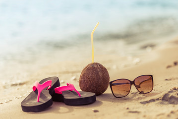 Summer objects on the beach