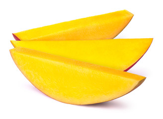 Three mango slices isolated on white background, with clipping path