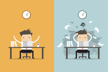 Businessman finish working and busy businessman unfinished work. Business concept cartoon vector.