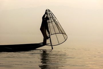 Fisherman Inle lake Myanmar