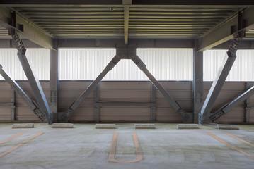 Empty space of indoor car parking lot..
