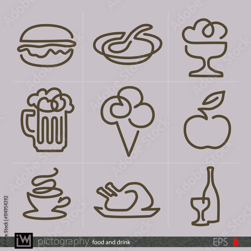 Line Drawing Food : Quot nine food and drink icons special drawings by single