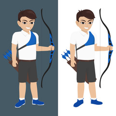 Illustration of Boy playing Archery at Olympic Games