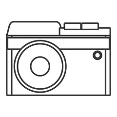 white photo camera with flash front view over isolated background, technology concept, vector illustration