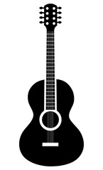 Acoustic guitar music instrument icon in white and black colors, vector illustration.