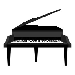 Piano music instrument icon design in black and white colors, vector illustration image.