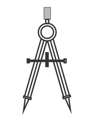 black and white school compass front view over isolated background, vector illustration