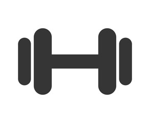black and white gym dumbbell front view over isolated background, vector illustration