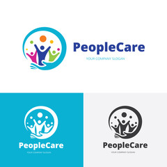 Family care logo,People care logo,Brand identity with people and hand symbol.