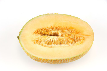 fresh cantaloupe melon on white background